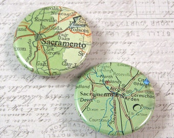 Sacramento Map Pinback Button Set