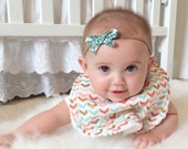 Baby Bibs for Girl  - Single Bib - Triple Layer Chenille  - Gold Triangles, Pink, Mint, Coral Chevron  - GOLD, MINT & CORAL