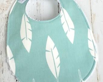 Baby Bib  -  Chenille Triple Layer Design  - Gender Neutral - Mint, Aqua - MINTY BLUE FEATHERS