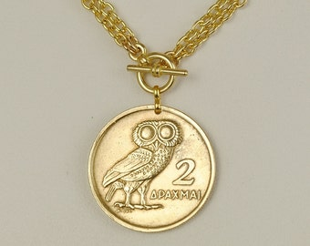 Greek Coin Necklace 1973 Owl Coin