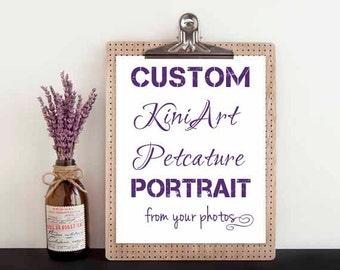 """Custom DRAWING KiniArt 8x8"""" Pet Portrait Art"""