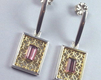 Pink tourmaline earrings in Argentium silver