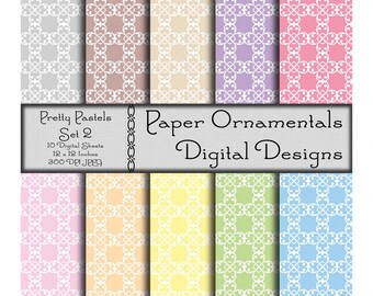 Digital Paper Pack, Commercial Use License, Digital Scrapbook Paper, Printable Paper, Instant Download, Pastel Paper, Designer Paper