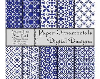 Digital Paper Pack, Commercial Use Blue Digital Scrapbook Paper, Printable Paper Instant Download, Blue Color Geometric Pattern Paper