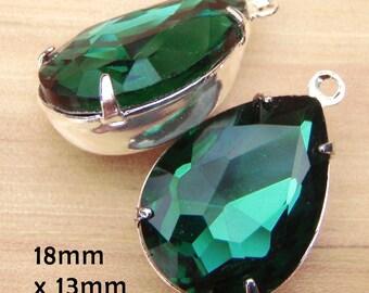 Emerald Green Glass Beads, Pear or Teardrop, Silver Plated Brass Settings, 18mm x 13mm, Glass Gems, Rhinestone Jewels, Dark Green, One Pair