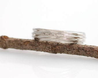 Tree Bark Wedding Ring - Palladium/Silver Wedding Band - 4mm - made to order wedding ring in recycled metal