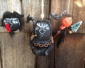 Three Krampus Santas sidekick handmade ornaments