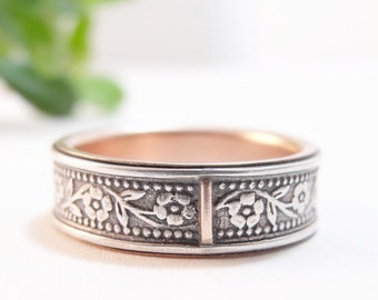 Womens Wedding Band Womens Wedding Ring Mens Wedding Band Mens Wedding Ring Petunia Floral Wedding Band Rose Gold Ring Sterling Silver