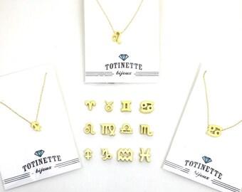 Gold Zodiac Charm Layering Necklace