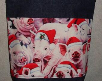 New Medium Handmade Christmas Holiday Santa Pigs Piggy Denim Tote Bag