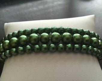 Bracelet Stretch Green Plastic Beads Set of 3 Size 7
