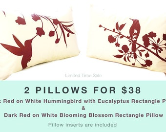 Limited Time Sale 2 Burgundy Red Print on Off White Bird Pillows for 38 US Dollars