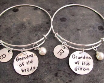 Grandmother Of The Bride Grandmother Of The Groom Bracelet Wedding Charm Bangle Grandma Of The Bride Grandma Of  the Groom Free Shipping USA