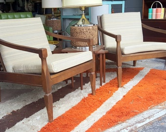 Mid Century Matching Pair of Wooden Armchairs with White Upholstered Cushions