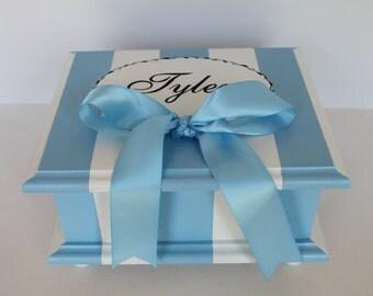 Baby keepsake box French stripe baby Memory Box personalized - blue & black baby boy gift hand painted