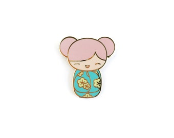 Kawaii Kokeshi Doll • Hard Enamel Lapel Pin
