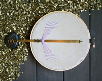 Pheasant Wall Wear - modern minimal geometric wall decor hanging recycled suede 3D brass thread embroidery unique mixed media hoop frame