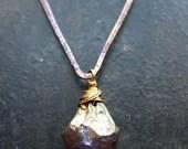 Gold Coated Amethyst Shard and Violet V Bar Necklace
