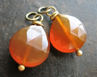 Faceted Caramel Chalcedony Bead Charm Pair