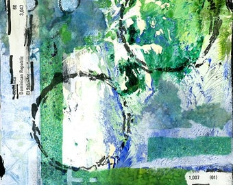 Abstract painting mixed media art  collage in blues and greens