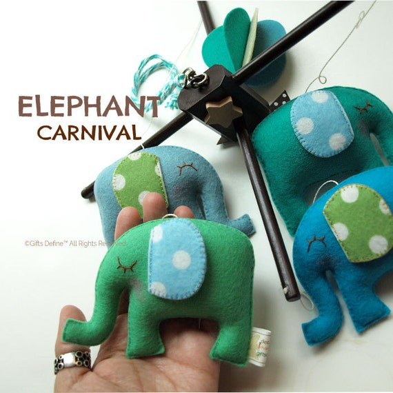 Free US Ship ELEPHANT CARNIVAL Stylish Baby Mobile, Custom Color, Safari Theme, Modern Mobile for Nursery, Kids Room Decor, Hanging Mobile