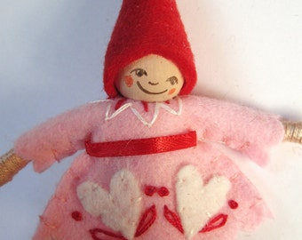 Be Mine Art Doll Ornament in Pink