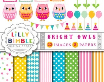 40% off Birthday Owl clipart and digital papers balloons, owls, polka dots, flowers, frames, Instant Download BRIGHT Owls