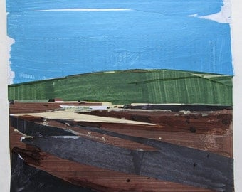 Tribute, Original Landscape Collage Painting on Paper, Stooshinoff