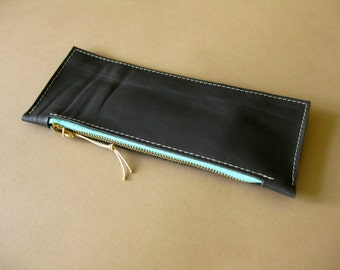 Long leather wallet - Charcoal gray
