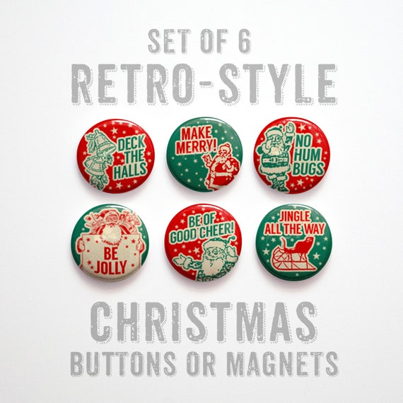 Christmas Favors Stocking Stuffer Christmas Buttons 1 inch