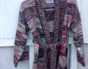 30%OFF SUPER SALE- Retro Cardigan with Tie Waist-Penrose-Acrylic-Rainbow