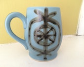 Mid Century Robins Egg Blue Mug Cup / Abstract Design