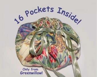 Jewelry Pouch 16 pockets more pockets travel storage drawstring bag green tulips