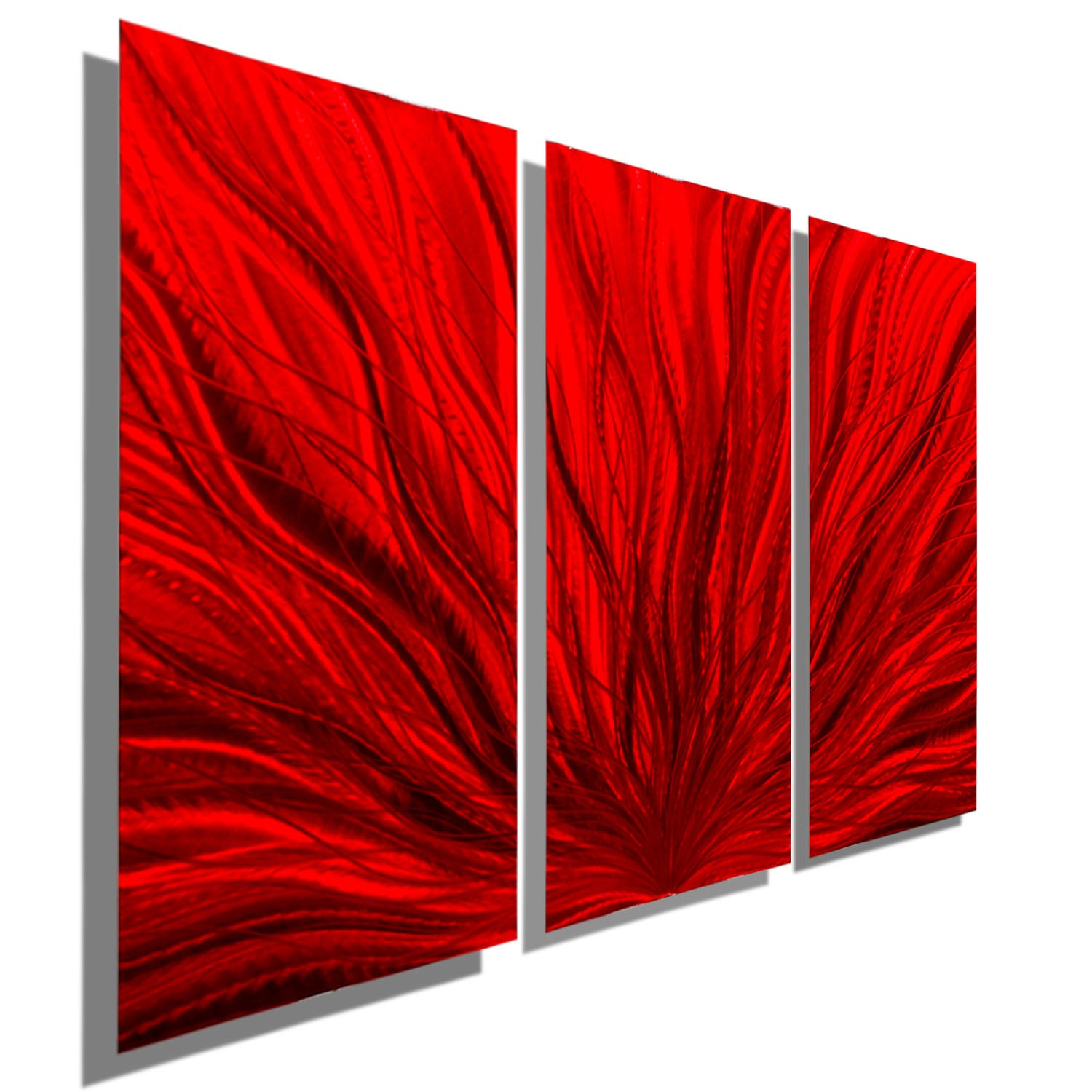 Large 3 Panel Decorative Metal Wall Art In Red Contemporary