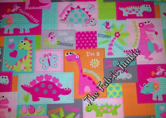 Sweet dinosaurs girly pink cotton woven bright colorful for Girly dinosaur fabric
