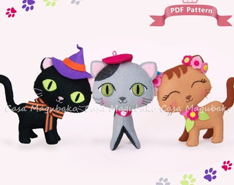 Felt Cat Sewing Pattern - Hand Stitched Cat Digital Tutorial - 3 Styles - PDF File - Instant Download