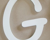 Single letter G, white, wood, wall décor, mantel décor, 9 inches, bathroom wall, nursery wall, kids wall, office wall