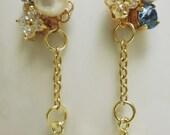 Swarovski cotton pearl star charm earrings