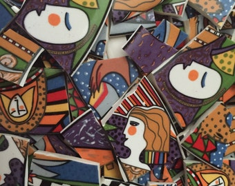 100 Metropolitan Mosaic Tiles from Broken Plates - Faces Retro People and Mixed Designs