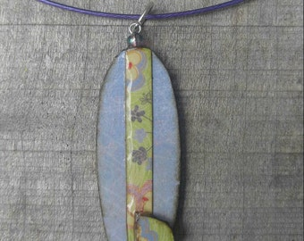 wearables...necklace...funky surfboard lilac