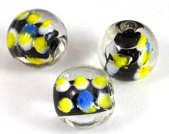 12mm Black/Yellow/Blue Dot Bead (4 Pcs) #LCH026