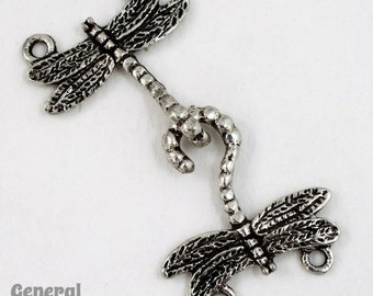 20mm Antique Silver Dragonfly Clasp (2 Sets) #5031