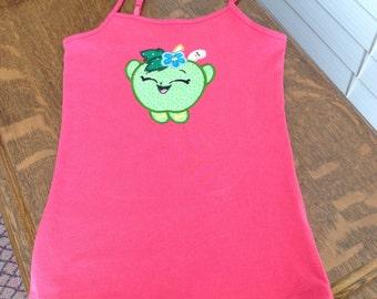 Shopkins pink applique tank top /shirt/size small (6 /6X)