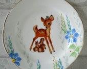 1950's Bambi Deer & Bunnies Vintage Ornamental Wall or Table Display Heirloom Plate (17)