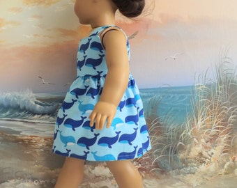 """18"""" Doll Clothes Nautical Whales in Blues Sundress Medley Will Fit American Girl"""
