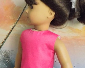 18 Inch Doll Clothes Will Fit American Girl Magenta Pink Solid Modified Crop Top NEW Style