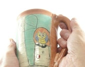Large Pottery Mug with forest design holds 18 ounces  Large Coffee Cup, Tea mug, teacup, Tankard Stein, Pencil holder, Toothbrush holder 532