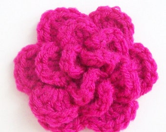 Layered Flower Crochet Applique, Pink Crochet Flower Embellishment, Three Layer Crochet Flower, Flower Motif