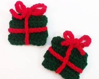 Crochet Gift Applique, Christmas Applique, Christmas Embellishment, Holiday Applique, Set of 2, Crochet Present Motif