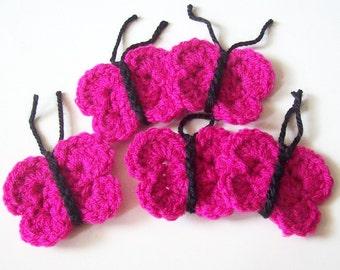 Crochet Butterfly Appliques, Pink Crochet Butterflies, Crochet Butterfly Embellishment, Scrapbooking, Crochet Butterfly Motif, Set of 5